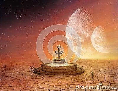 A fountain in the desert