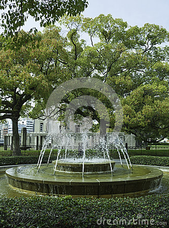 Fountain in front of the Atomic bomb dome, Hiroshima Japan