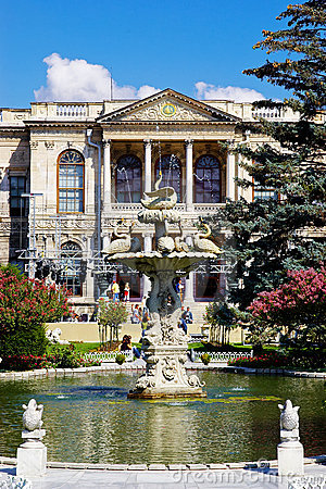 Fountain in Garden of Dolma Bahche Palace, Turkey