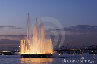 A fountain in the Golden Horn, Istanbul-Turkey