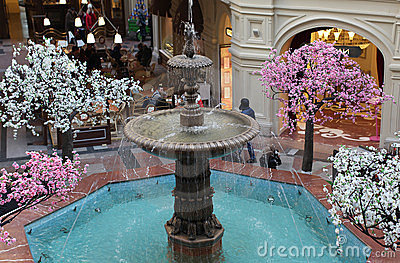 Fountain in GUM shopping mall Editorial Stock Photo