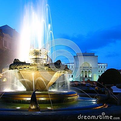 Free Fountain In Opera Square, Timisoara, Romania Stock Photography - 5507622