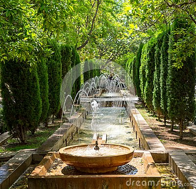 Free Fountain In The Gardens Of Almudaina - Palma De Mallorca, Spain Royalty Free Stock Photo - 124028325