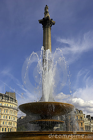 Free Fountain In Trafalgar Square With Nelsons Column In Background Stock Images - 202254