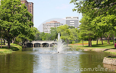 Fountain,lake, building and plants