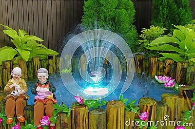 Fountain with Light in mini garden