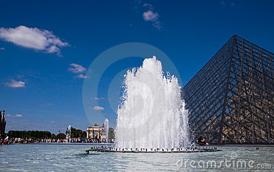 The fountain at the Louvre Editorial Image
