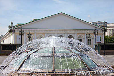 Fountain on a Manezhnaya Square,Moscow. Russia.