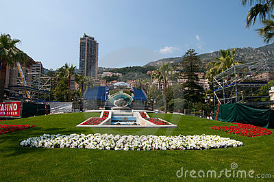 Fountain and mirror near Monte Carlo grand casino Editorial Photography