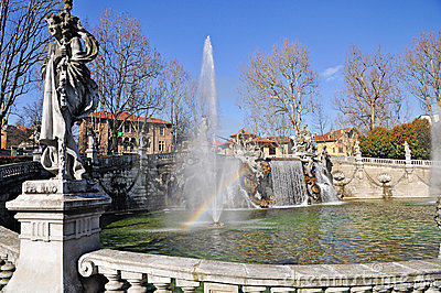 Fountain of the Months in Turin, Piedmont, Italy.