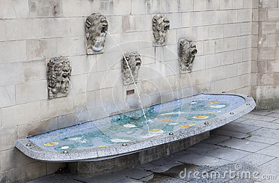 Fountain near Notre Dame cathedral in Luxembourg