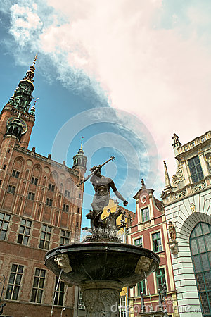 Fountain Neptune in Gdansk.
