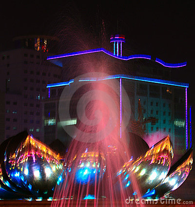 Fountain in night