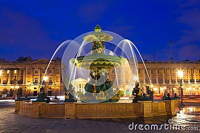 Fountain in Paris at Night