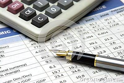 Fountain pen and calculator