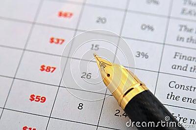 Fountain pen and data sheet