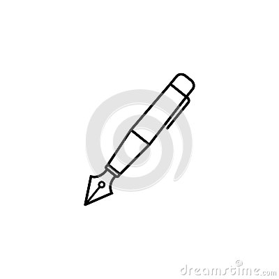 Fountain pen line icon, education and school Vector Illustration