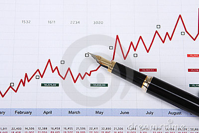 Fountain pen on stock chart