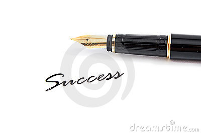 Fountain pen and success text