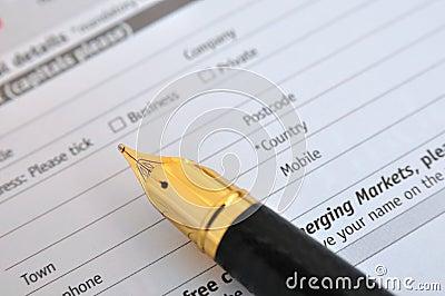 Fountain pen and survey sheet