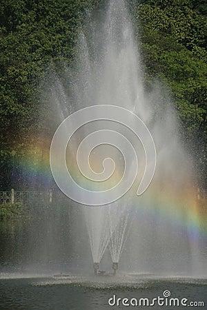Fountain with a rainbow