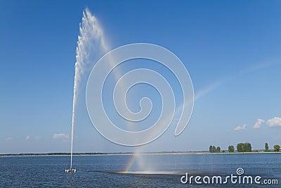 Fountain and rainbow