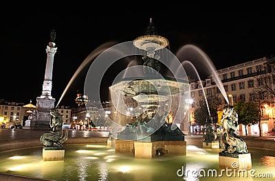 Fountain in Rossio Square