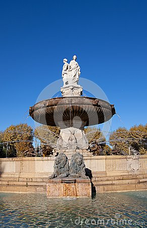 Free Fountain Rotonde (1860). Aix-en-Provence, France Stock Image - 35319661