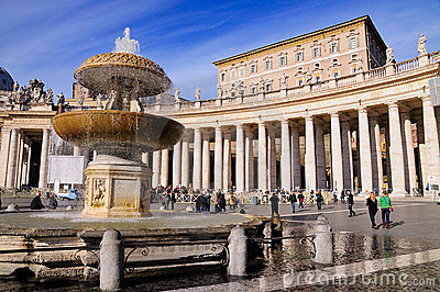 Fountain on Saint Peter s Square, Rome Editorial Image