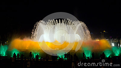 Fountain show. Barcelona landmark, Spain.