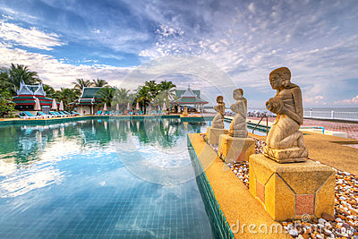 Fountain statues at  swimming pool in Thailand