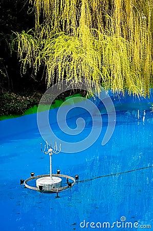 Fountain in swimming pool