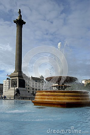Fountain at Trafalgar square in London
