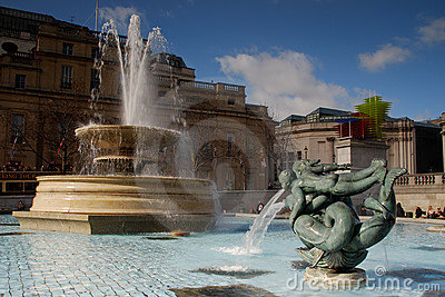 Fountain on Trafalgar Square, London, UK