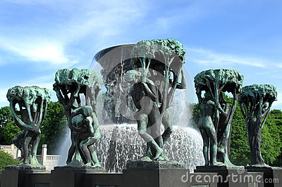 Fountain in Vigeland park Oslo Editorial Image