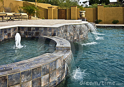 Fountain and waterfall pool