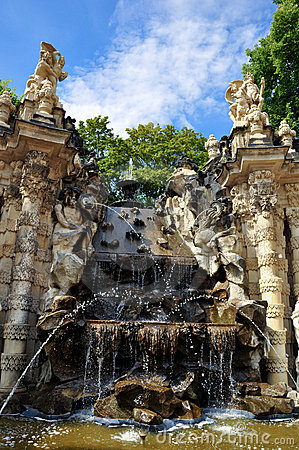 Fountain in Zwinger museum Dresden,Germany