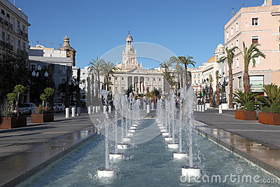 Fountains in Cadiz, Spain Editorial Photography
