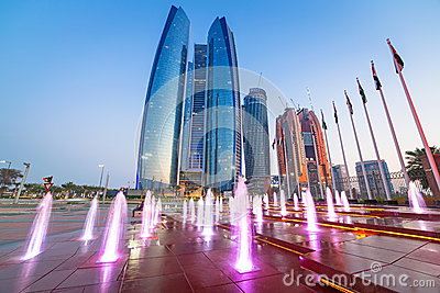 Fountains at the Etihad Towers in Abu Dhabi Editorial Image