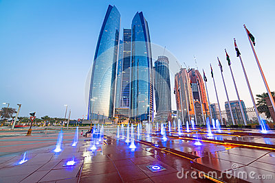 Fountains at the Etihad Towers in Abu Dhabi Editorial Photo