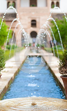 Fountains in garden of Alhambra in Spain, Europe.
