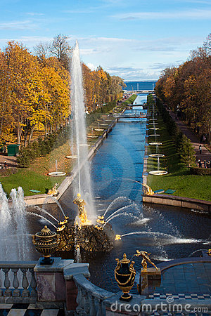 Fountains in the park, Petergof Russia