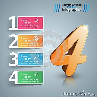 Free Four 3D Digital Illustration Infographic. Stock Photo - 98243690