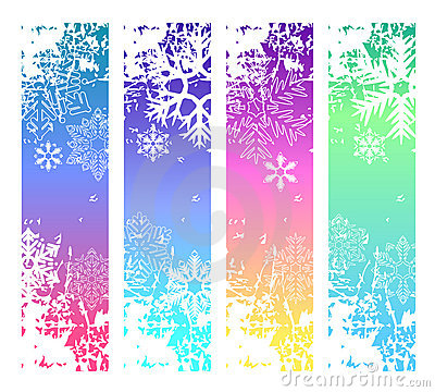 Four abstract vertical winter banners