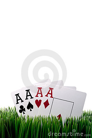 Free Four Ace Playing Cards In Grass Stock Photos - 9791493