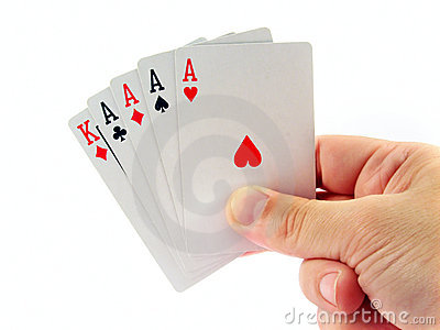 Four ace poker in hand