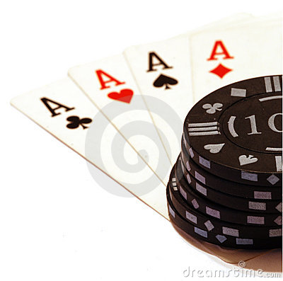 Free Four Aces And A Big Stack Of Chips Stock Photo - 3677530