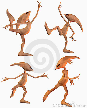 Four aliens in dance poses