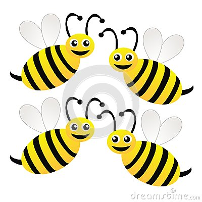 Four Amusing Drawn Bees On A White Background Royalty Free ... Golf Ball On Tee Clipart
