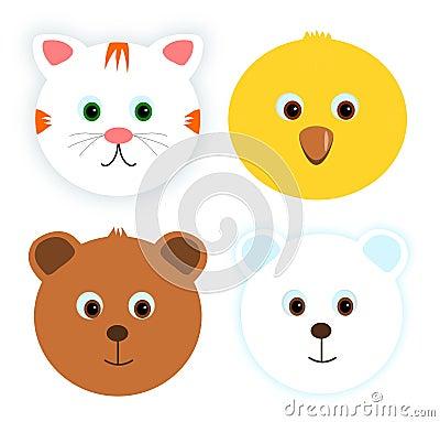 Four animal faces